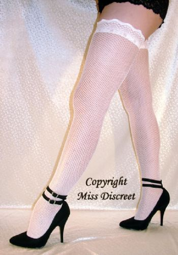 Women's White Fishnet Hold Up Stockings with Sexy Lacy Tops - One Size